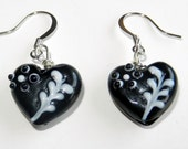 Black Heart Lampwork Beads with White Detail Earrings - CloudNineDesignz