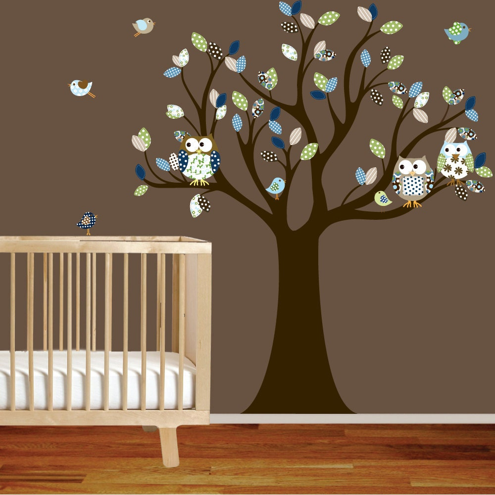 Nursery tree decal with owls birds green blue by wallartdesign for Bird and owl tree wall mural set