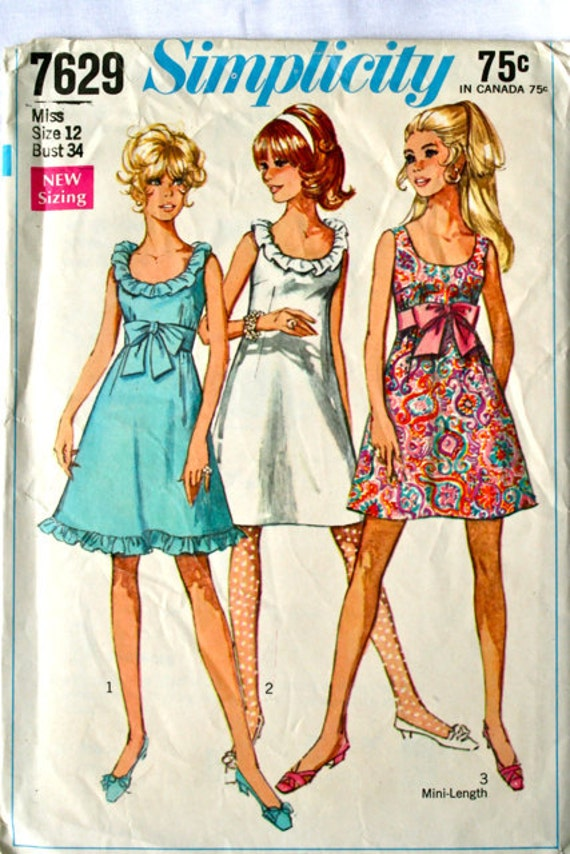 vintage 1960's Simplicity 7629 A-line dress with sash, size 12 bust 34