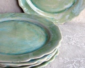 Handmade pottery ceramic stoneware clay slab set of 6 dinner plates with cut edges in light blues - Lesliefreemandesigns