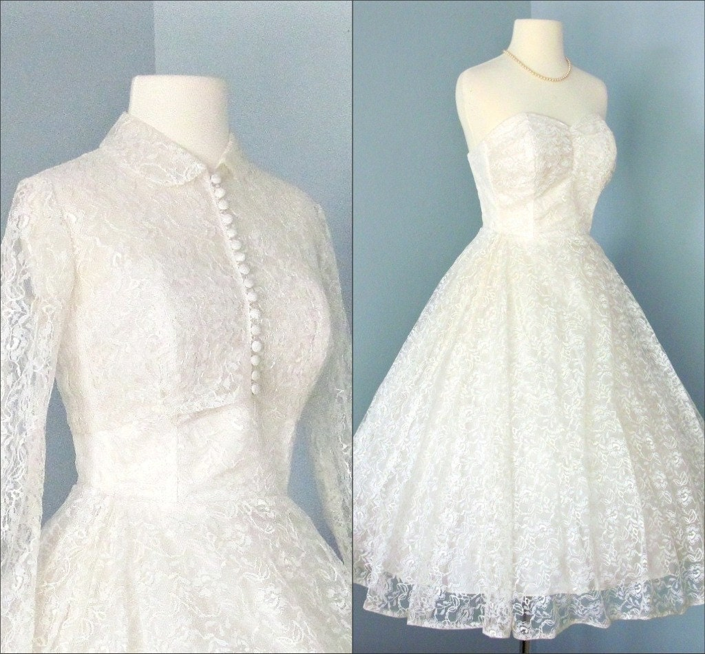 Formuladifg tea length vintage lace wedding dress for Vintage wedding dresses tea length