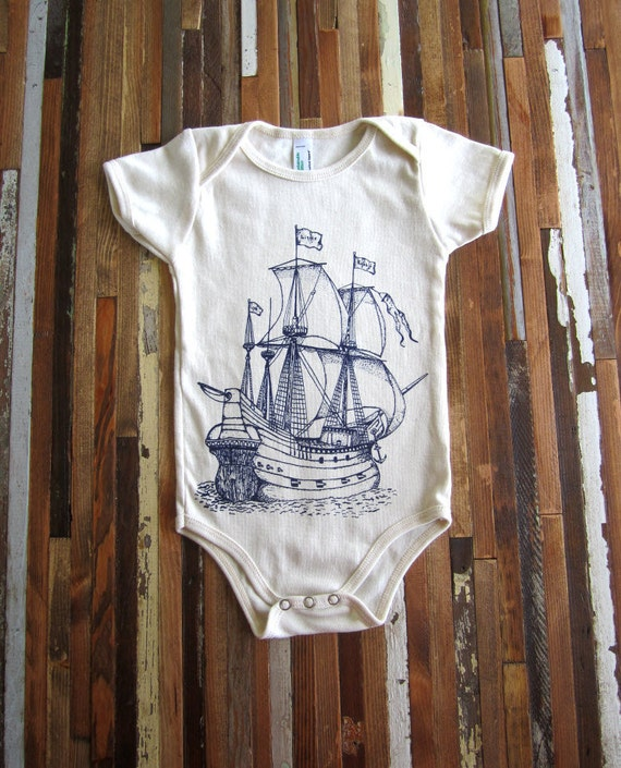 Organic Cotton Onesie - Screen Printed American Apparel Baby Onesie - Vintage Ship Illustration- Eco Friendly - Nautical (You pick size)