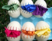 6 wool felted eggs and 6 rainbow playsilks - stellagraceboutique