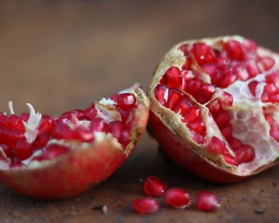 pomegranate, 5x7 photograph, home decor, red, rustic, fruit, fall, autumn, kitchen wall art