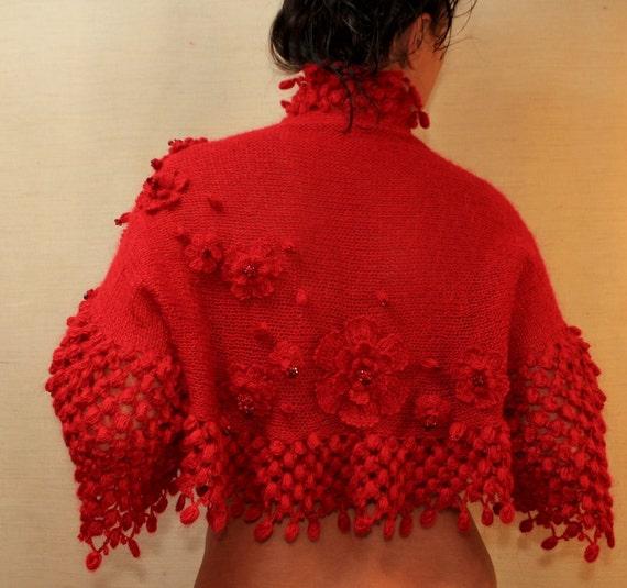 شعله جذاب / سرخ بی اعتنایی تلقی بولرو (XS-SML) / گل های 3D با کریستال سنگ / عروسی عروس توری - ساقدوش عروس ساخته شده به سفارش
