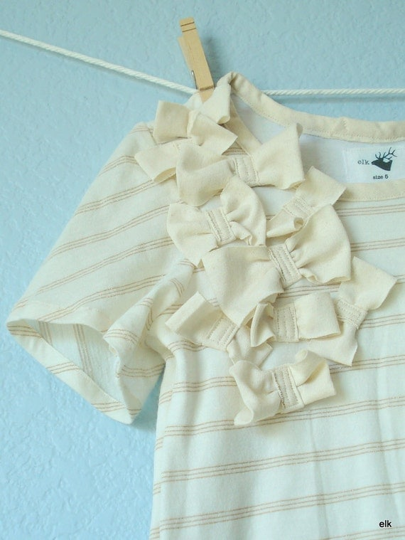 Girls Dress - Gold & Cream Bows, size 5, READY TO SHIP