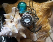 steampunk pirate nautical pocket watch compass charm necklace - TheMeltonPot