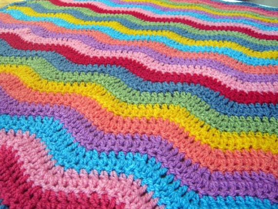 Stunning Bright Rainbow Ripple Granny Stripes Blanket Afghan