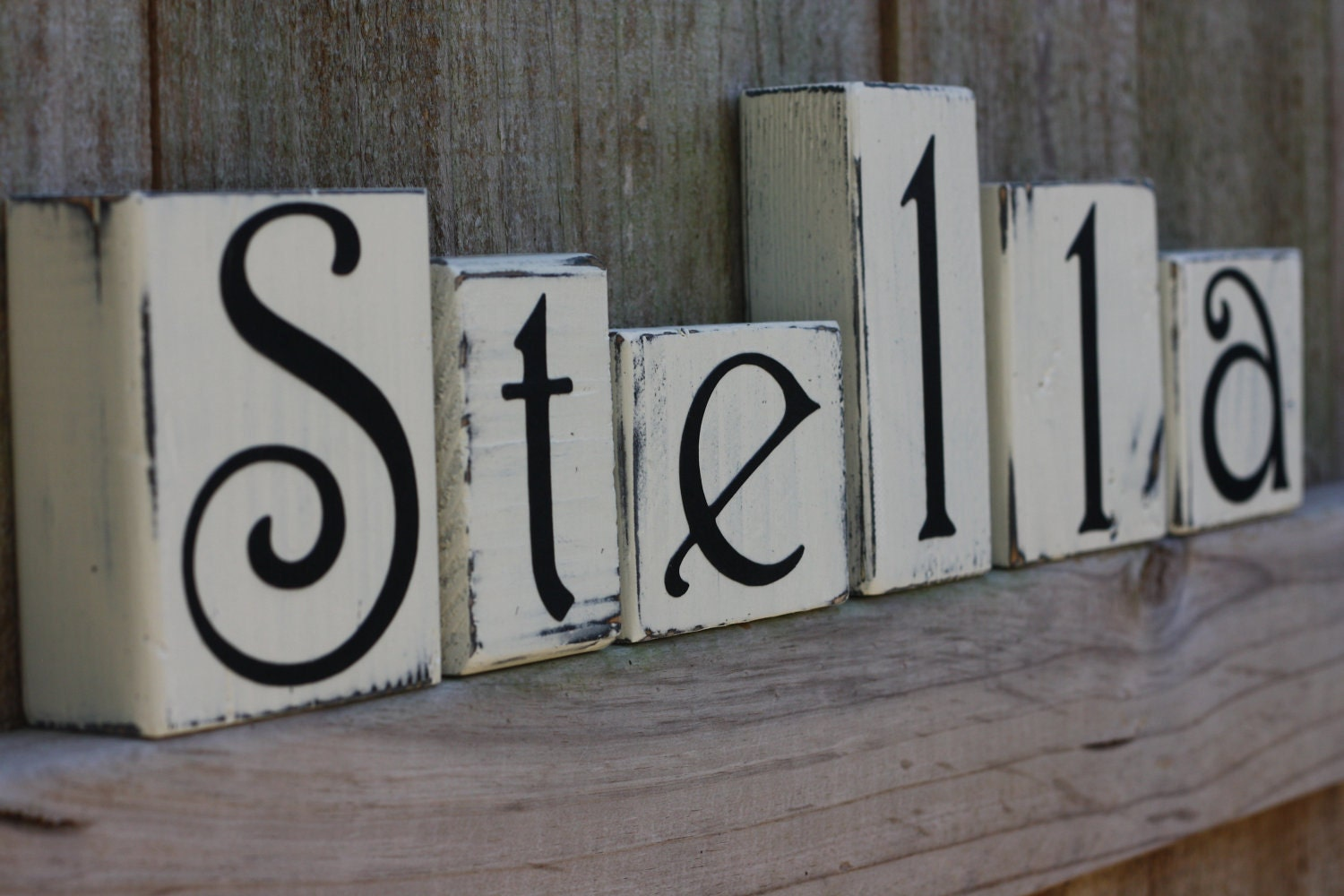 Reserved for k personalized wooden blocks farmhouse by for Letter name signs
