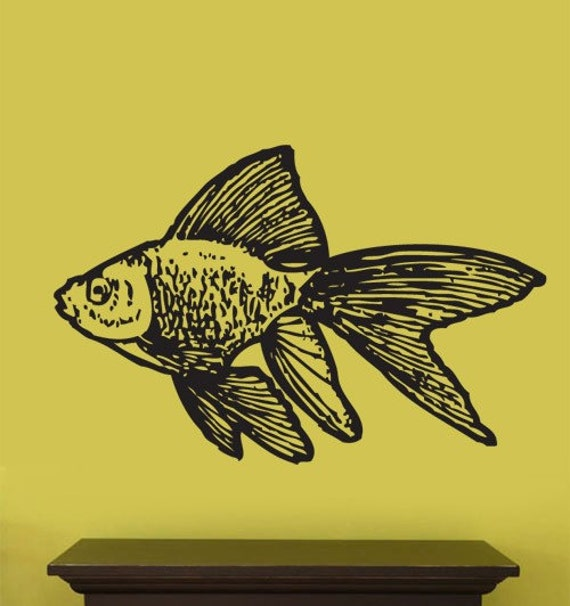 Vinyl Wall Decal Sticker Animal Gold Fish 20x32 Big