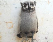Grey Woodland Owl Textile Art made from Vintage soft grey blankets. - MisterFinch