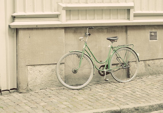 Green bicycle photo with a vintage touch - 5x7 fine art photography print - urban green beige natural bike photograph travel Sweden