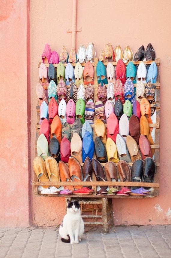 Morocco photograph - A little bit of Marrakech - 5 x 7 fine art photography print - vibrant colorful morrocan shoes wall decoration
