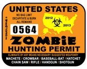 United States Zombie Hunting Permit Vinyl Sticker - Individually Numbered - WeirdStickers