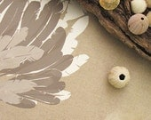 Feather Table Runner 1.5m 59inch handprinted on Eco Friendly Linen - white taupe beige - ElkhornDesign