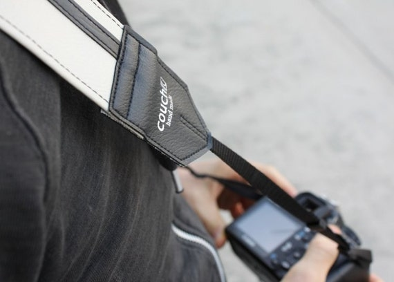 Racer X camera strap - White and Black - eco friendly vegan strap