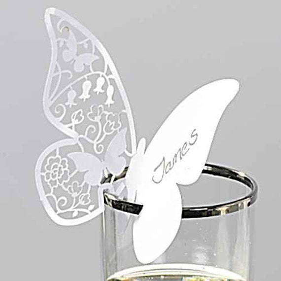 50 Butterfly Paper Place Card / Escort Card / Wine Glass Card Paper for Wedding Party