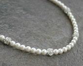 Classic pearl bridal necklace, string of pearls, rhinestone crystal fireballs, simple wedding bridal jewelry - Eternity