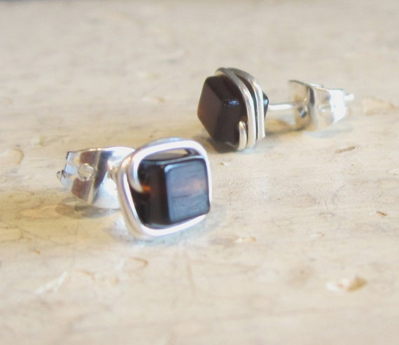 Square Stud Earrings // Sterling Wire Wrapped Smoky Quartz Posts