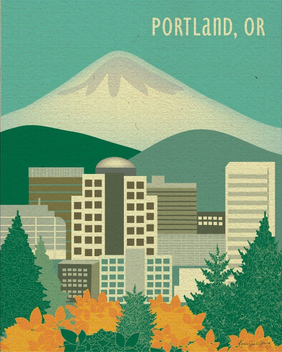 Portland, Oregon & Mt. Hood - Art Poster Print for Home, Nursery, and Office Top Seller