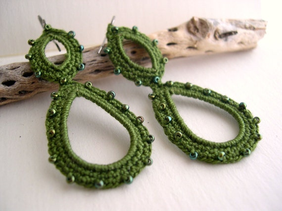 SALE - Olive green long dangle crochet earrings - dark green earrings - Lace Fashion - Handmade - Long lightweight dangle earrings