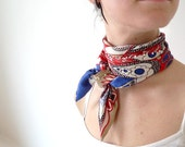 nautical satin scarflette - red, white, blue - handsewn faux pearls - retro style print - summer fashion - Joik