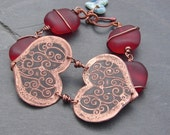 Etched Copper Double Heart and Sea Glass Bracelet - ForMySweetDaughter