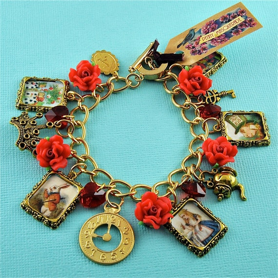 Alice in Wonderland Red Red Rose Charm Bracelet in Gold