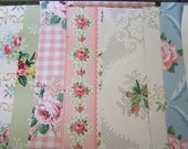 Vintage Wallpaper Sheets PINK ROSES 8 x 10 c1940s Mixed Media Jounaling ATC Tags - Jenz4seasons