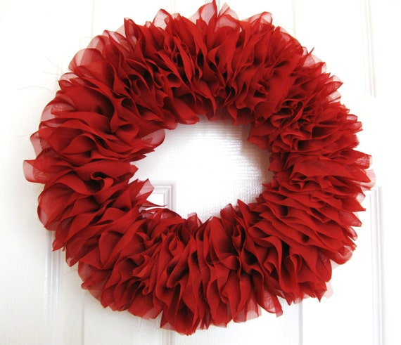 Rust Chiffon Ruffle Wreath Shabby Chic - featured on the Gift Insider - as seen on TV