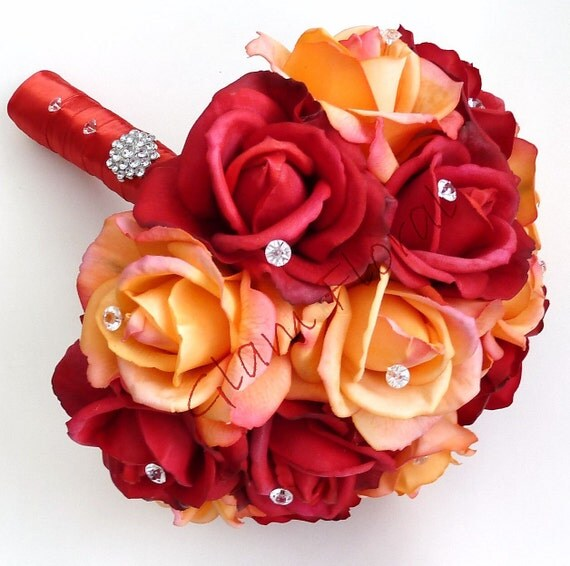 """Real Touch Rose Bridal Bouquet. 9.5"""" Diameter. crystals rhinestones pearls. White Ivory Cream Peach Coral Green Yellow Red Orange Hot Pink"""