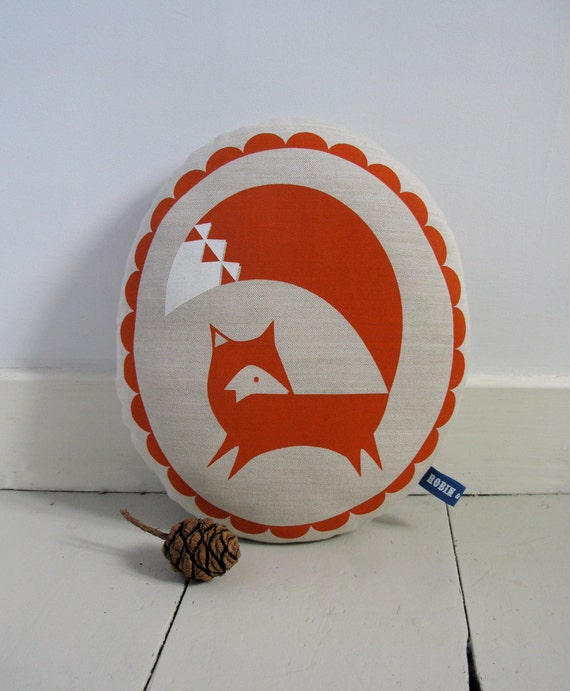 Hand Screen Printed Fox in Burnt Orange