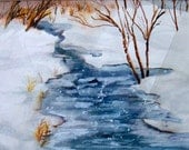 Original Watercolor Painting Winter Landscape Art River Snow Scene 11x15 matted to 16x20