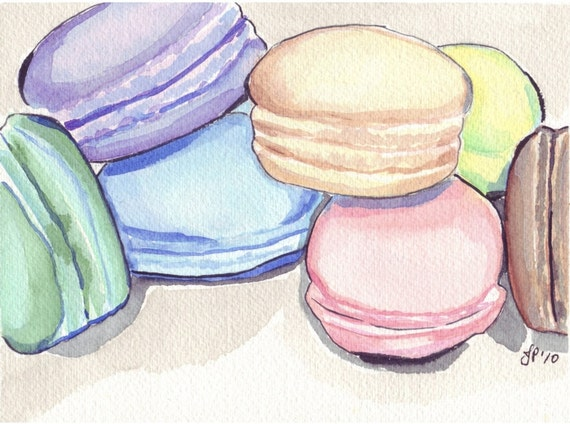 Macarons Watercolor Art Print, 8x10