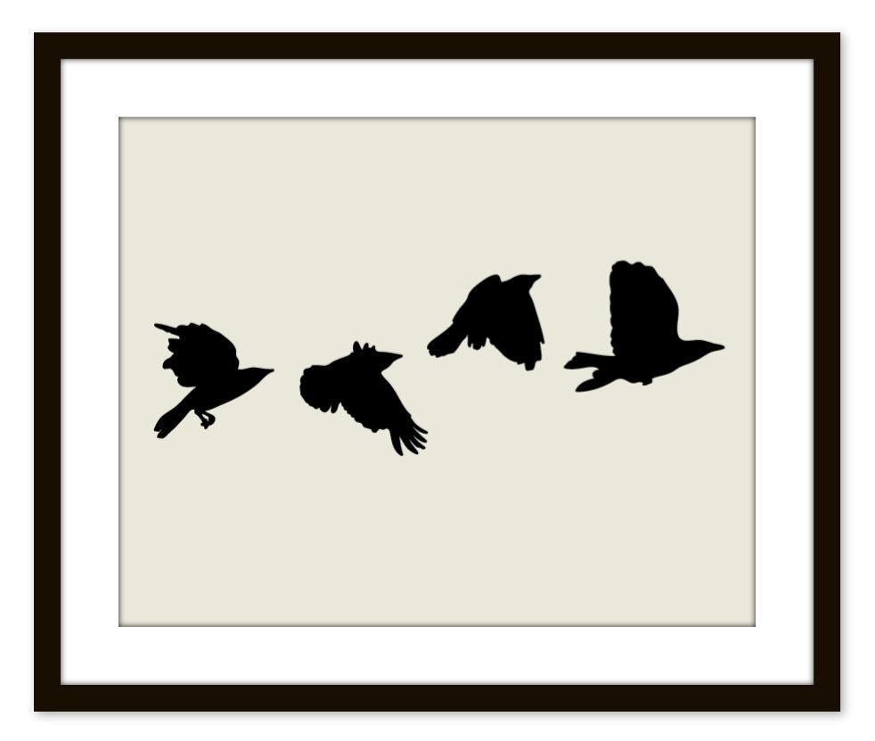 Black Birds Wall Art Print Modern Home Decor Black by AldariArt