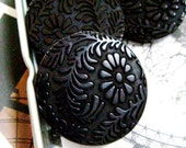Gorgeous Relief Fern and Flower Pattern Black Plastic Buttons.self shank. 1.10 inch. 10 pcs - Lyanwood