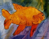 Orange Fish Print by Deborah Olliff