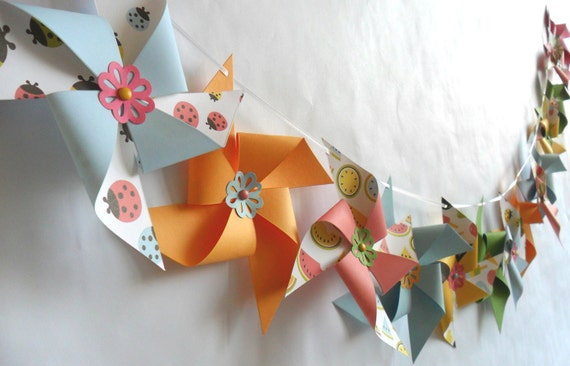 Pinwheels  Set of 16 and Pinwheel Banner for a Summer Party or a Birthday Party Baby Shower Bridal Shower party favors or bat mitzvah