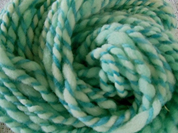 Handspun Bulky Yarn Hand Dyed Alpaca / Babydoll Wool Pastel Teal Green 52 Yards