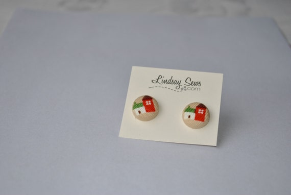 House and Home Fabric Covered Button Earrings for Adoption Fundraiser
