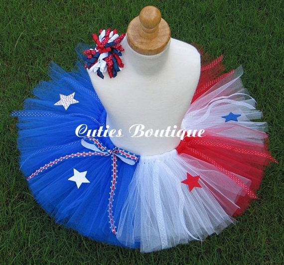 4th Of July Red White Blue  TUTU Hair Clip --All Sizes 6 9 12 18 24 Months 2T 3T 4T --Birthday, Photo, Holidays, Patriotic