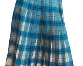 Vintage 1970s Pleated Plaid Skirt, Wool, School Girl Skirt, Turquoise Blue, Cream & Beige, Schoolgirl Costume, Wool, Womens, Small Medium - YesterdaysSilhouette