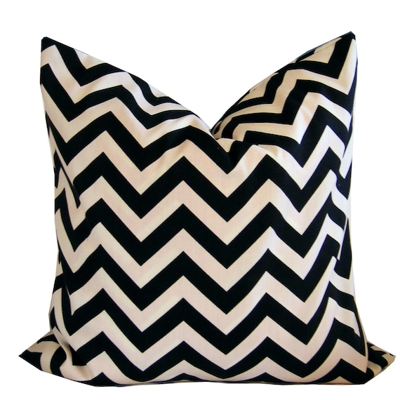 40 Percent Off SALE - Use Code ABC40 Outdoor Pillow Cover Cushion Cover 18x18 Ebony Black Chevron Zig Zag
