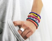 Pick any 3 Neon Stackable Wood Bracelets with Signature Black Onyx Gemstone accent. Trendy stacks of Rainbow on your arm. - GoddessOfJewelry