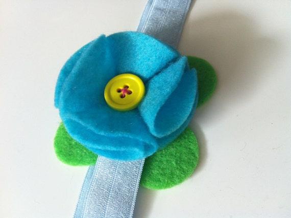 Bright blue felt flower headband - summer time colors - baby headband, flower headband, girl headband