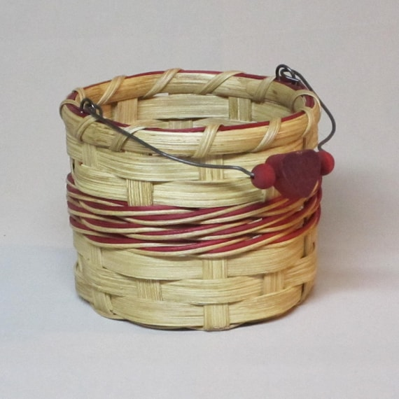 Little Bucket Basket with Wire Handle, Red Accents, Hand Woven with Wood and Wire Swing Handle
