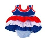 40% coupon code Baby dress, patriotic baby jumper, red white blue ruffles 3-6 mths , hand knit and crocheted. Lined diaper cover., 4th July. - AnnabellesWardrobe