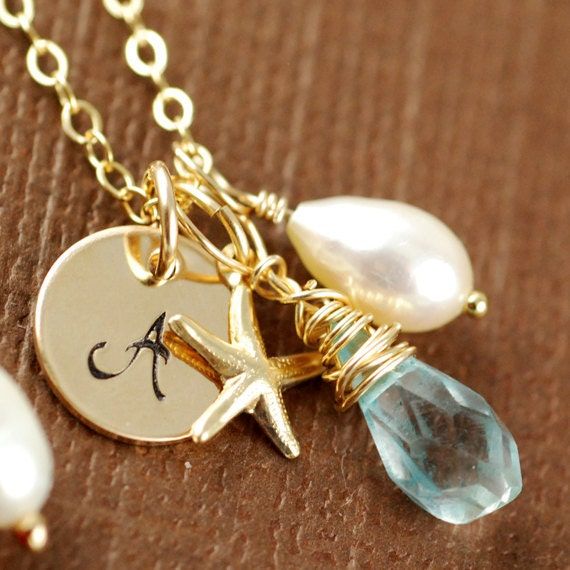 Bridemaids Gift, Gold Initial Necklace, Personalized Jewelry, Starfish, Pearl, Blue Topaz Birthstone