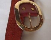 Vintage Eyelet Dark Earthy  Red Leather Belt Gold Tone Buckle