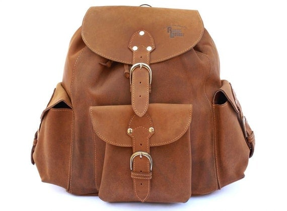 Leather Backpack Book Bag - Buckskin Tan Distressed, Rugged